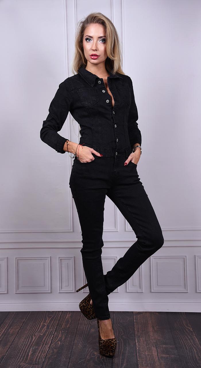 83bd425caa3605 Km139] Czarny kombinezon jeansowy :: Deme.pl