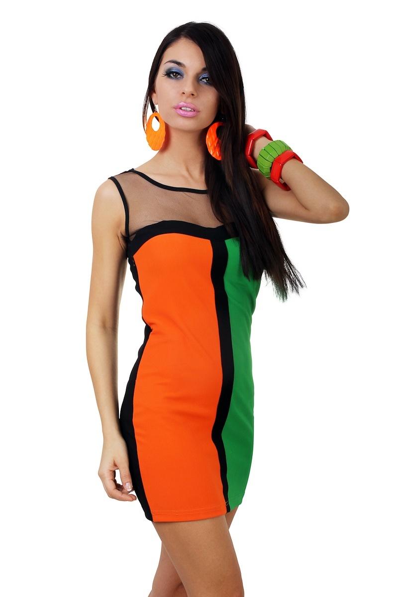 2ffc17c7a7  M94  Zielono pomarańczowa sukienka z tiulem
