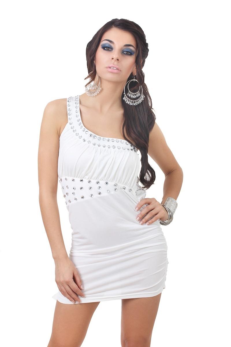 1aad9cacb9  M98  Biała sukienka z kamieniami na jedno ramie