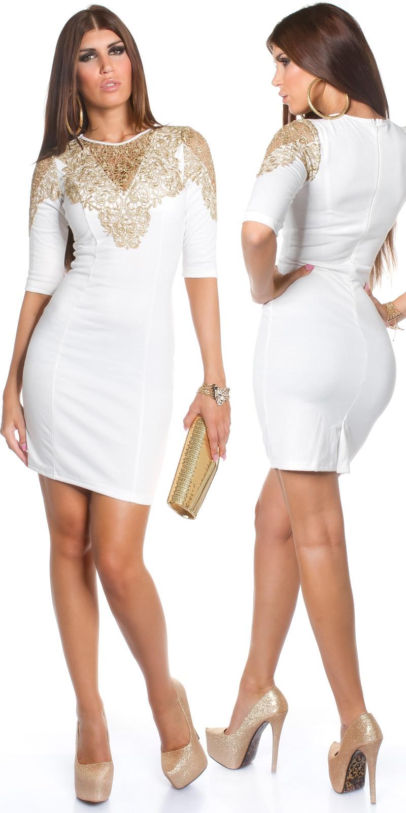 55781193c4 MB157  Biała sukienka ze złotym haftem    Deme.pl