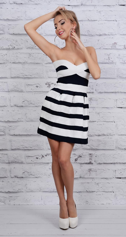 ca024e3f1d MB165  Biało czarna sukienka w paski    Deme.pl