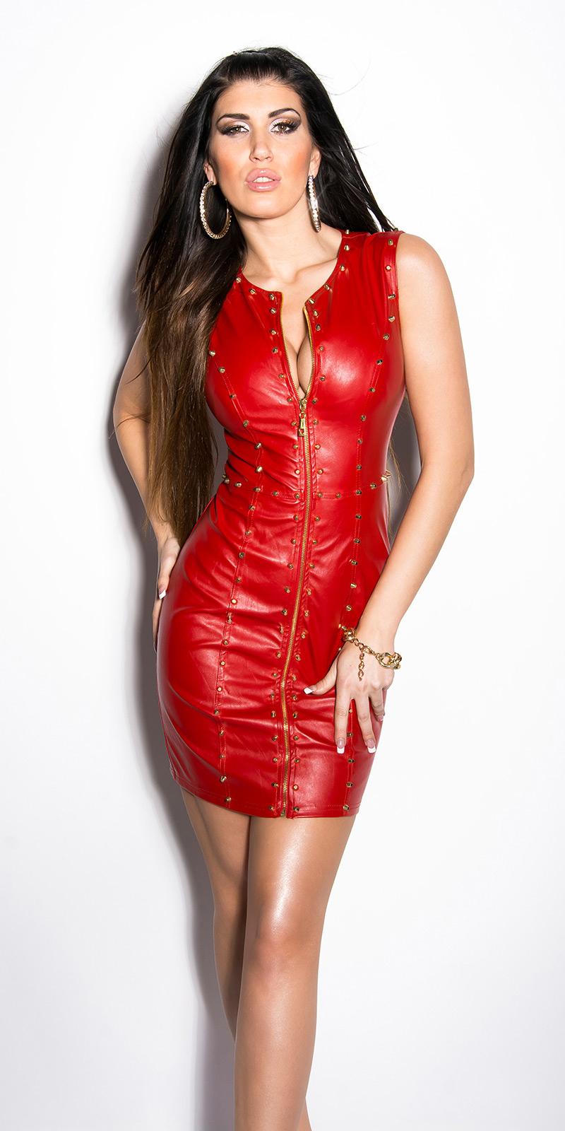 ac3455d3 MB172] Czerwona skórzana sukienka z nitami :: Deme.pl