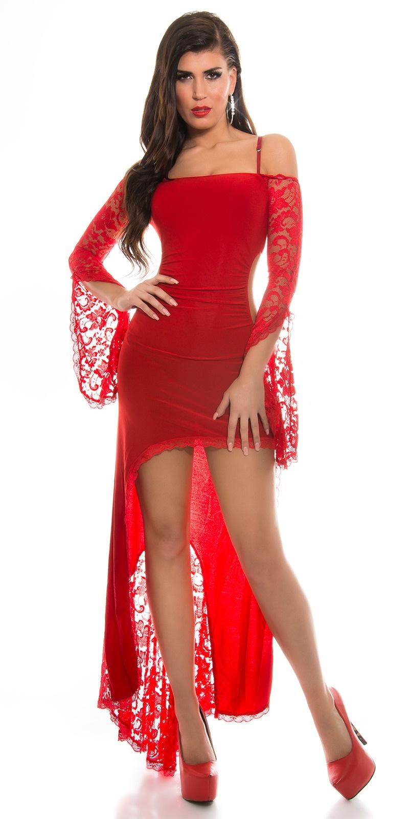 e8389302f1 MB177  Czerwona asymetryczna sukienka z koronką    Deme.pl