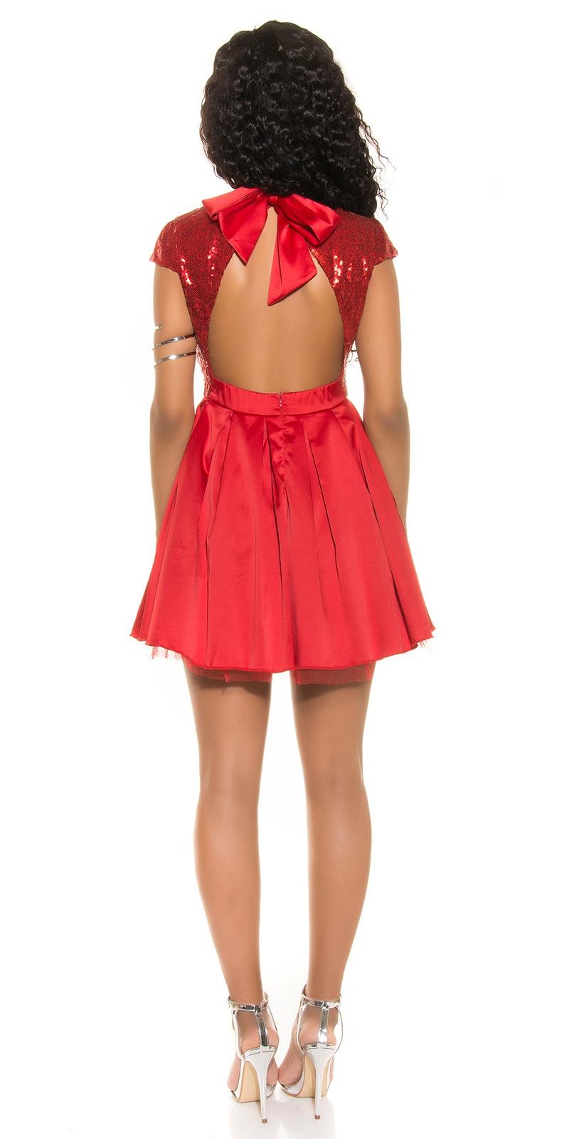 MB197] Czerwona sukienka rozkloszowana bez pleców :: Deme.pl