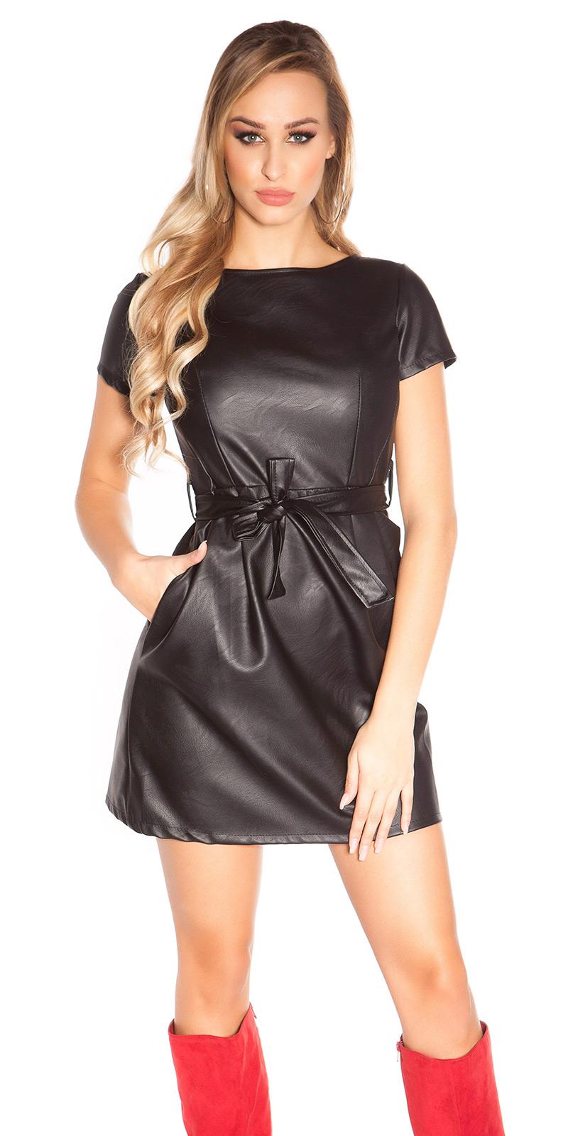 2248994b9f MB237  Czarna sukienka z eko skóry    Deme.pl