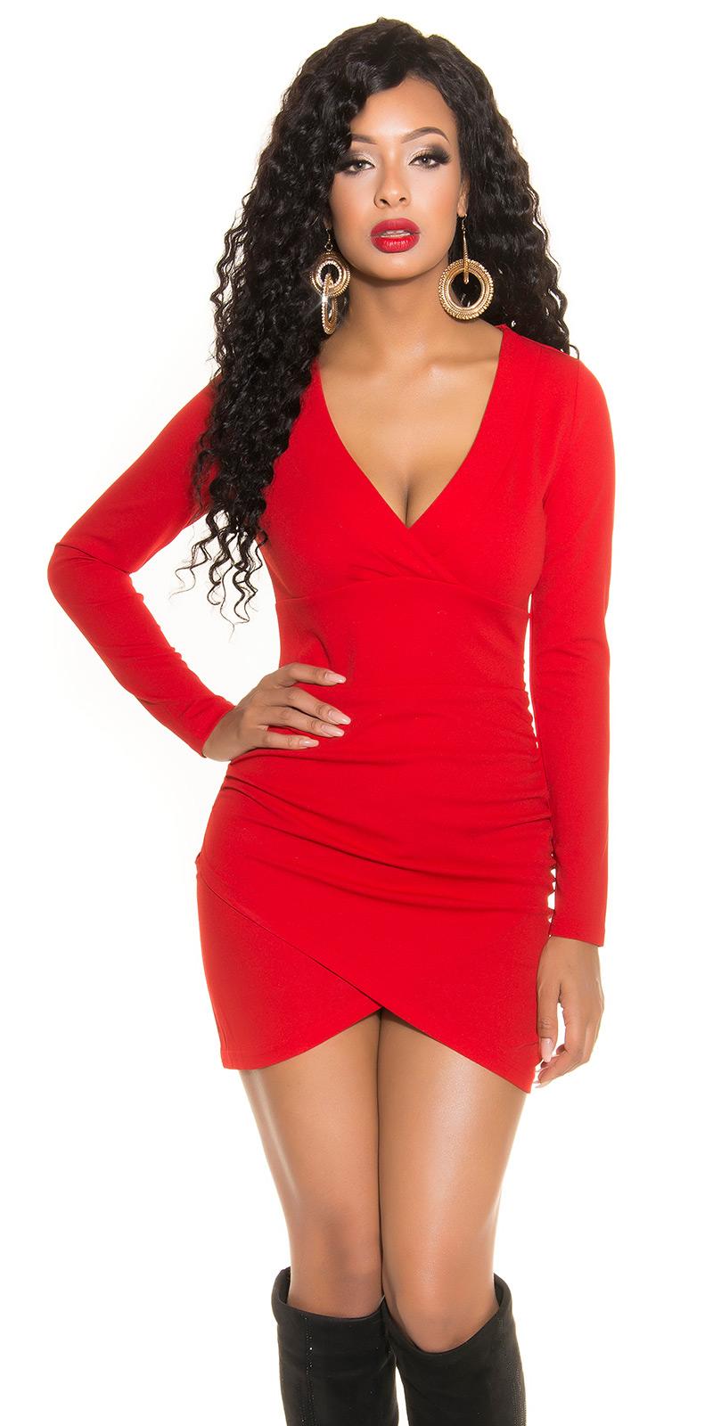 b619950843d98e MB240] Czerwona sukienka z długim rękawem :: Deme.pl