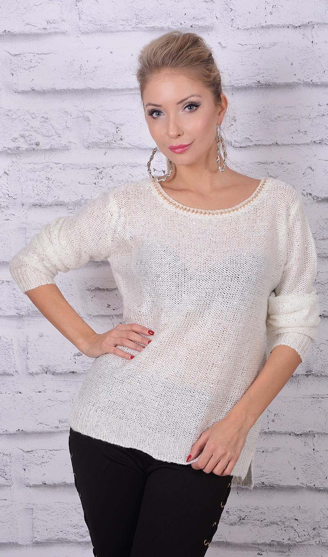 Poważnie Sw142] Biały sweter z cekinami :: Deme.pl ZT23